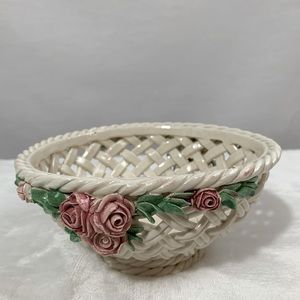 Vintage Italian Ceramic Weaved Bowl w/ Roses